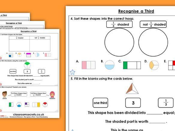 Year 2 Recognise a Third Spring Block 4 Maths Homework Extension