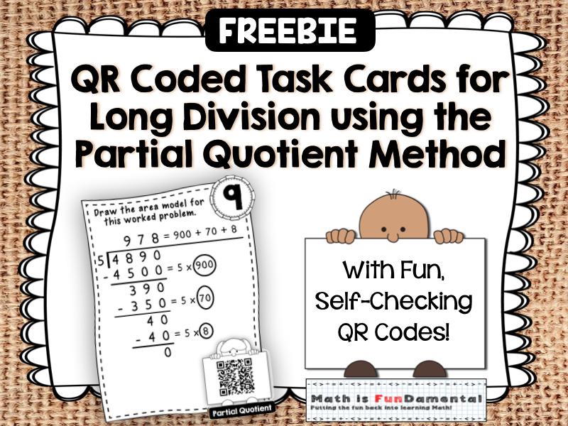 {FREEBIE} Sample QR Code Task Cards for Partial Quotient Method Long Division