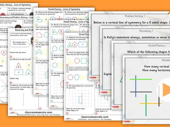 Year 2 Lines of Symmetry Spring Block 3 Step 5 Lesson Pack