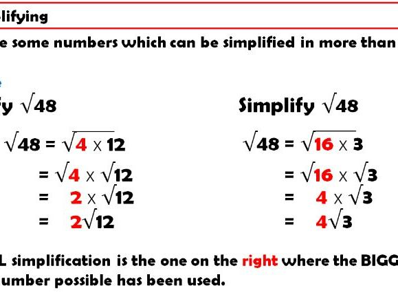 Introducing and Simplifying Surds