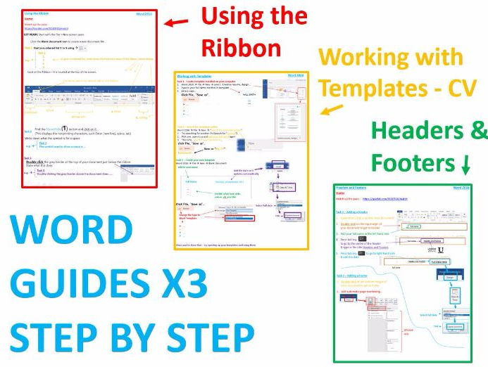Word 2016 Guides x3 - Ribbon, Templates, Headers & Footers