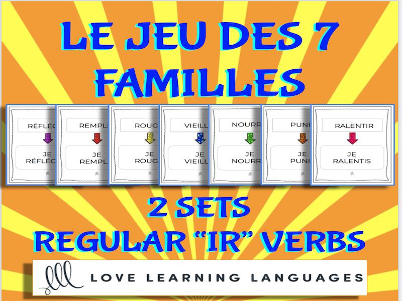 Le jeu des 7 familles- Regular IR verbs present tense card games