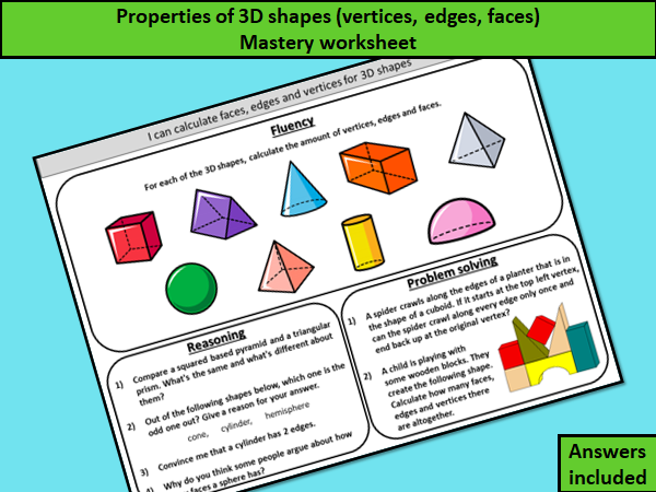 Properties of 3D shapes (faces, edges, vertices) mastery worksheet