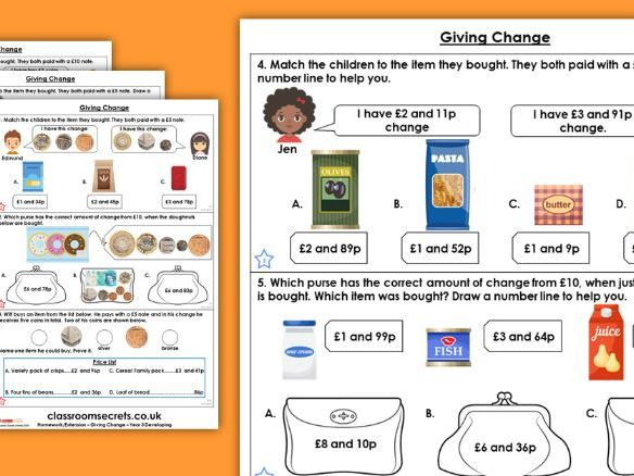 Year 3 Giving Change Spring Block 2 Maths Homework Extension