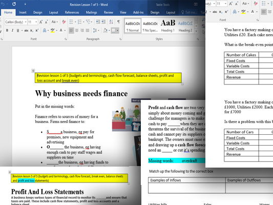 GCSE/BTEC Break Even Analysis, Balance Sheets, Profit And Loss Accounts 5 And Cash Flow Forecasts