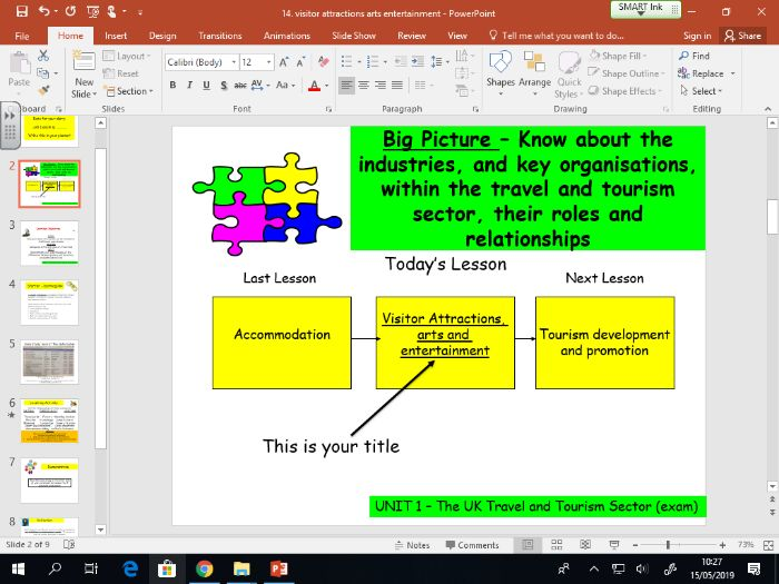 Travel and Tourism BTEC first level 2 - UNIT 1 - lesson 14 - Visitor Attractions