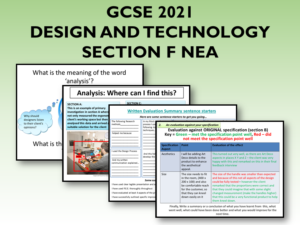 2021 AQA DT GCSE NEA Guide to Section F