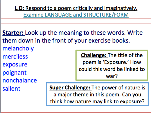 Exposure - Power & Conflict poetry - context, annotations and language analysis tasks