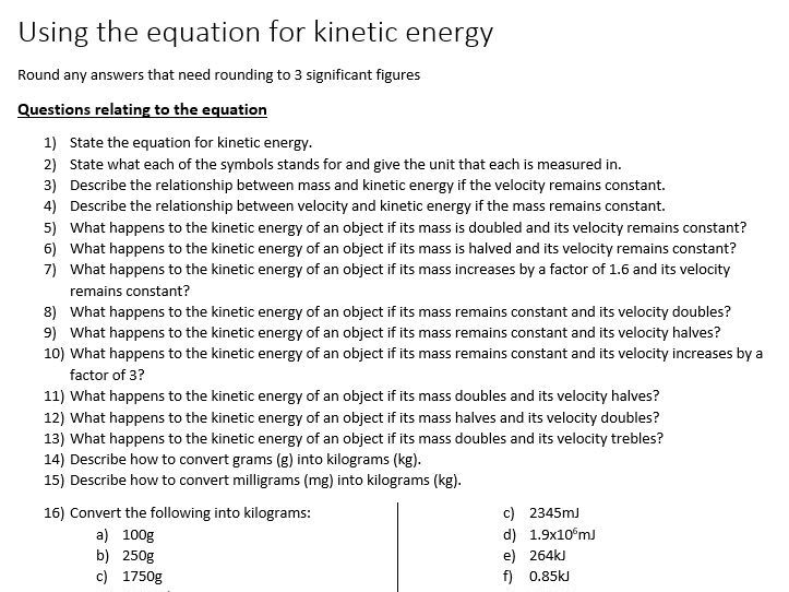 Kinetic energy practice questions and answers