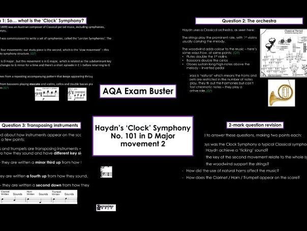 AQA GCSE Music Exam Busting - Haydn's Clock - 2 Mark Question Buster