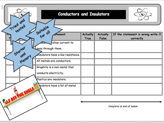 Electricity KS3 - 11 Anticipation Guides for Starter and Plenary