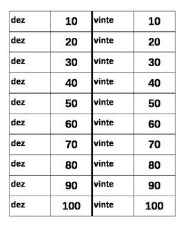 Números (Numbers in Portuguese) by tens Dominoes
