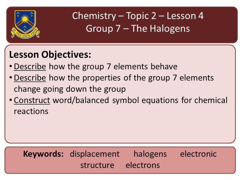 New AQA 2016 Chemistry Chapter 2 Lesson 4- group 7- the halogens