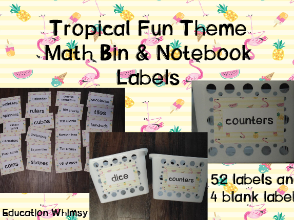 Tropical Fun Theme Math Bin and Notebook Labels