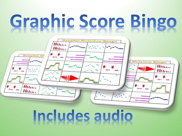 Graphic Score Bingo Card Game with Audio for Music Lessons