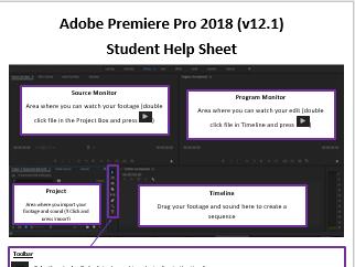 Adobe Premiere Pro student basic tutorial sheet