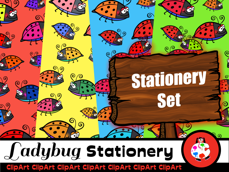Cartoon Ladybug Clip Art Pack