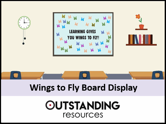 Door and Board Decoration Set - Learning Gives me Wings (Classroom Display)