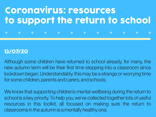 Coronavirus toolkit - return to school