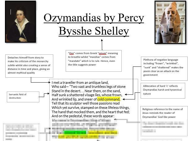 LEVEL 9 Ozymandias annotations, analysis and context sheet