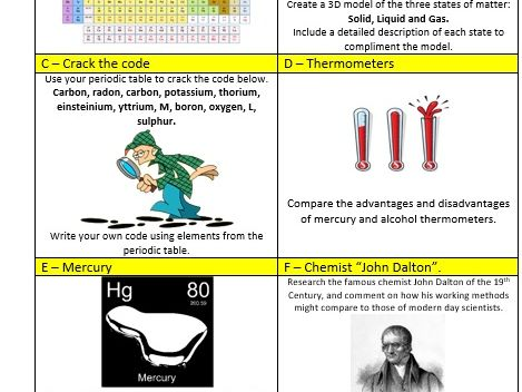 Year 7 Homework - Chemistry Topic 1 - Matter - KS3