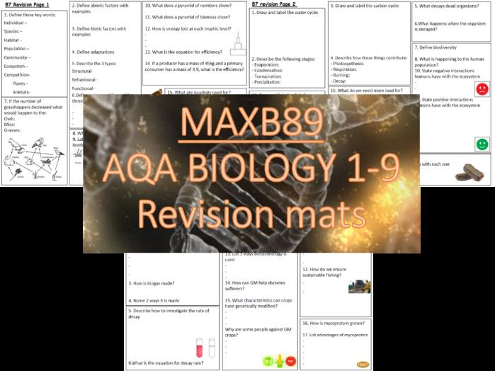 GCSE 9-1 Revision Biology AQA  Unit 7 Revision  Mats
