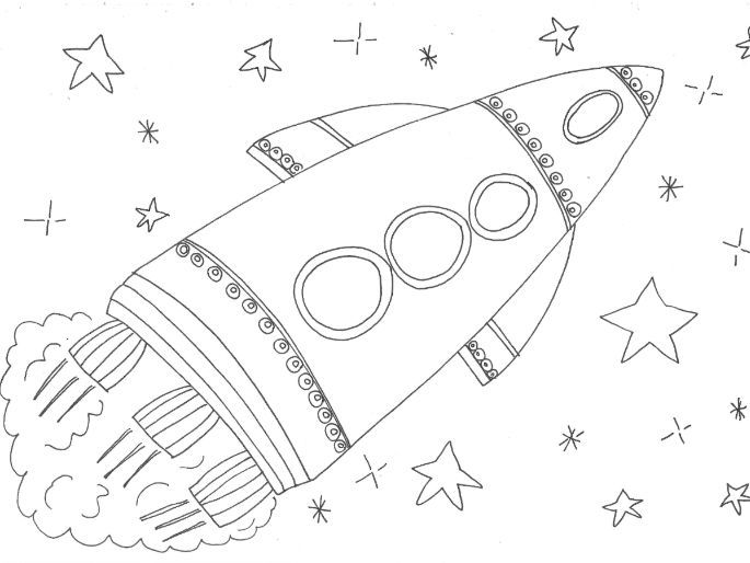 Rockets, Space Ships, Space: Colouring Page
