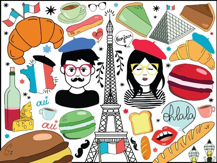 FRANCE BUNDLE - 215 FRENCH CLIPART -  Food, Characters, Paris Doodles, Phrases