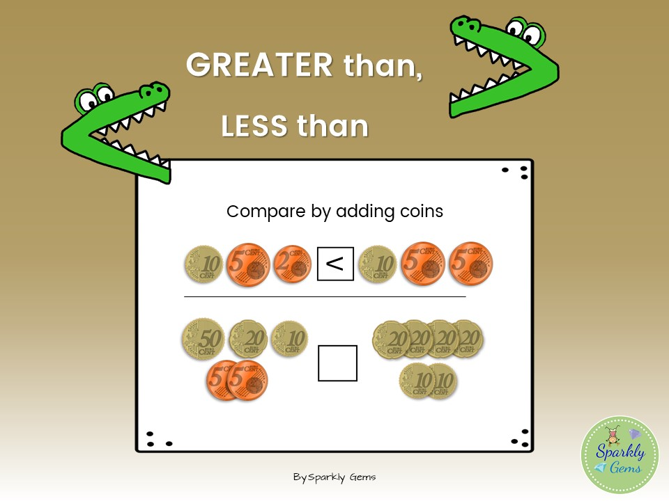 Greater than, Less than activity with coins
