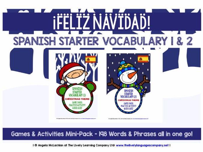 SPANISH STARTER VOCABULARY (1&2) - CHRISTMAS EDITION - GAMES & ACTIVITIES