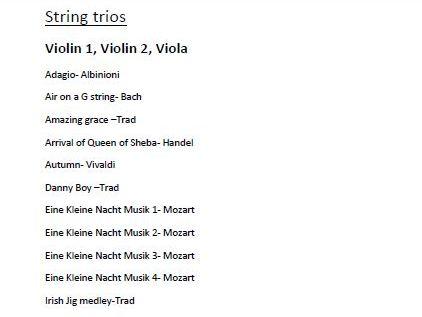 Classic String Trios for Violin 1, Violin 2 and Viola