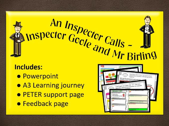 An Inspector Calls - Mr Birling and Inspector Goole - Powerpoint, learning journey and feedback page
