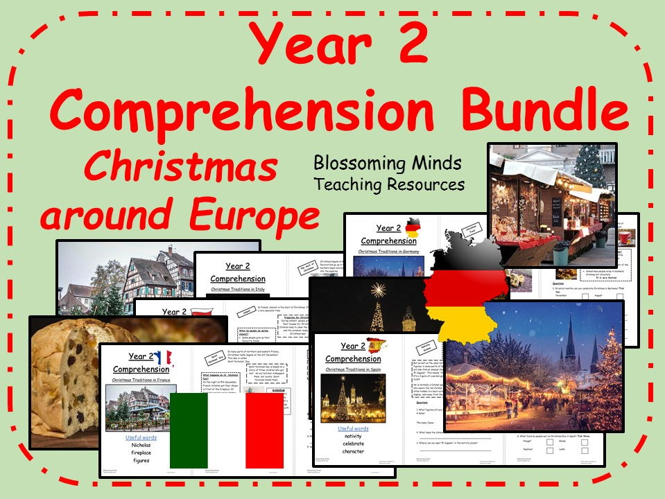 Year 2 Christmas Comprehension Bundle - Traditions around Europe