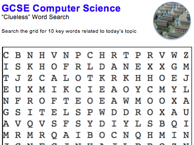 GCSE Computer Science: Word puzzles (Hardware)