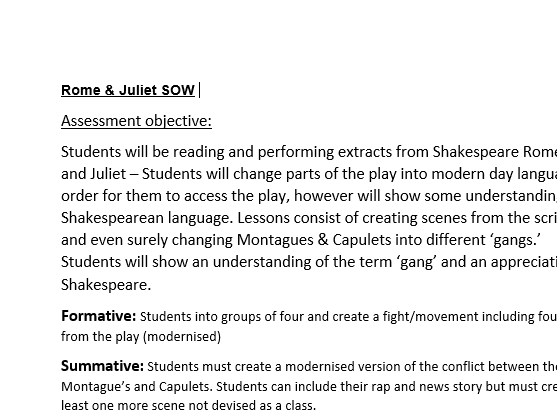 Romeo and Juliet Gangs Drama SOW