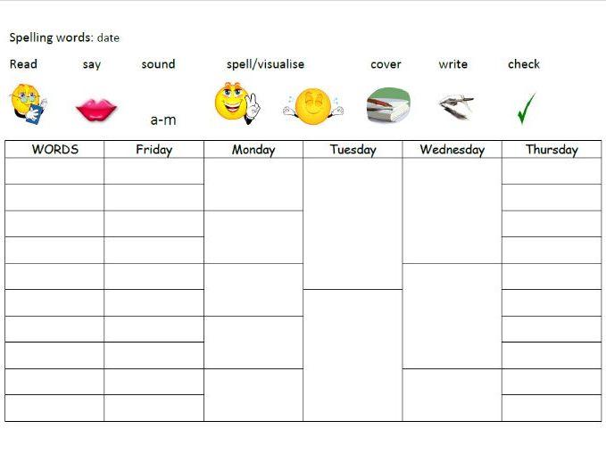 Year 3 weekly spellings