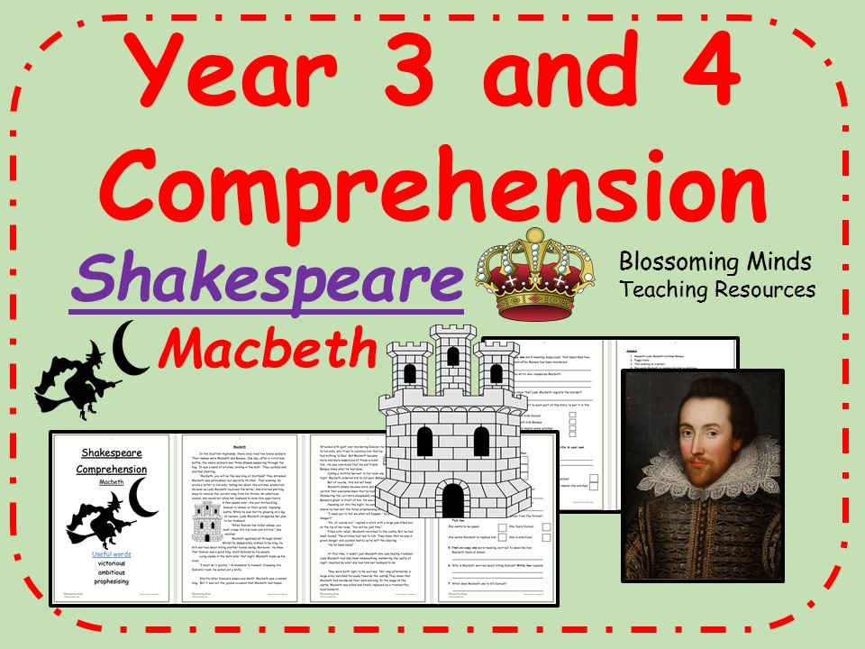 Macbeth - Lower Key Stage 2 Reading Comprehension (Shakespeare Week)