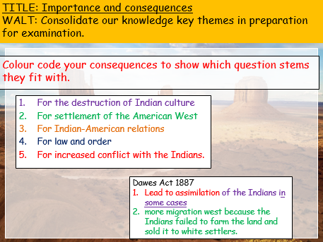 Consequence and Importance skills lesson (American West Edexcel 9-1)