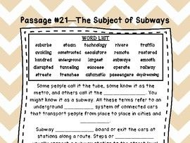 Fifth Grade Cloze Reading Passages Set #1-35)