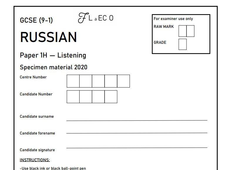GCSE (9-1) RUSSIAN Listening Practice Paper + Mark Scheme and Transcript (higher tier)
