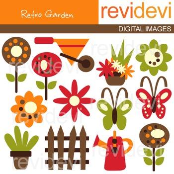 Clip art Retro Garden 07213 (gardening tools, flowers, butterflies) clipart