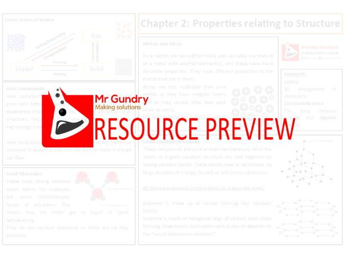 AQA Chapter 2: Properties relating to Structure Revision Sheet