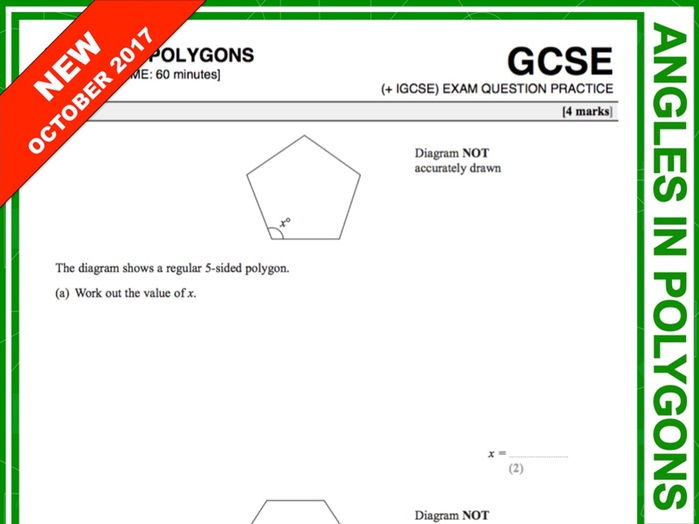 GCSE 9-1 Exam Question Practice (Angles in Polygons)