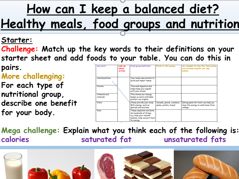 Healthy Eating and Balanced Diets - PSHE