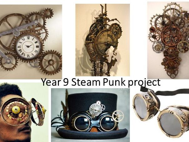 Steampunk art project using found objects