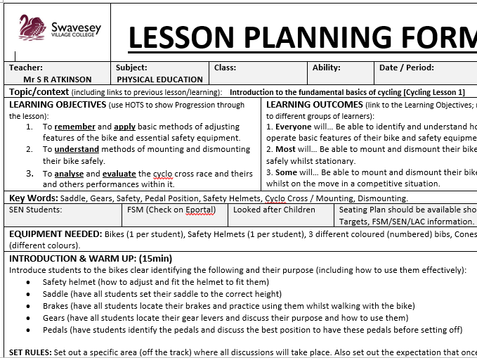 Cycling Resources and Lesson Plans