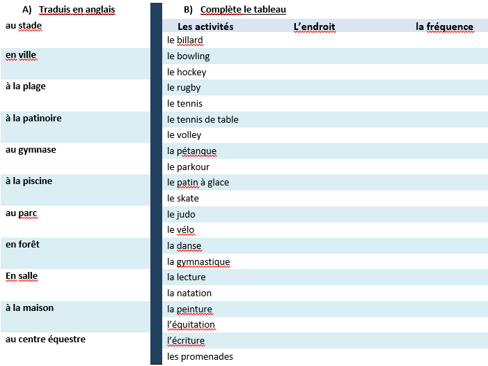 Vocab list of sports and where to do them