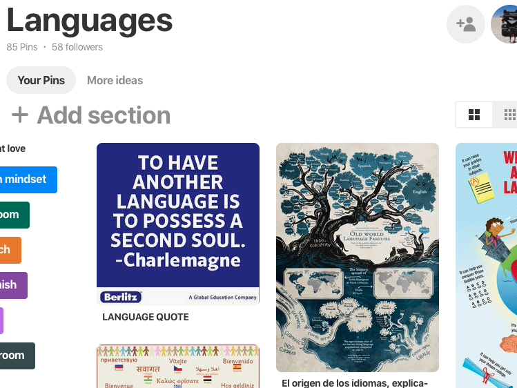 Languages Pinterest Board -posters, ideas and inspiration