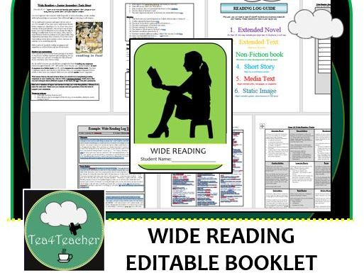 Wide Reading Booklet for Junior Secondary – Reading Log, Reading Responses,Tasks, Book Suggestions