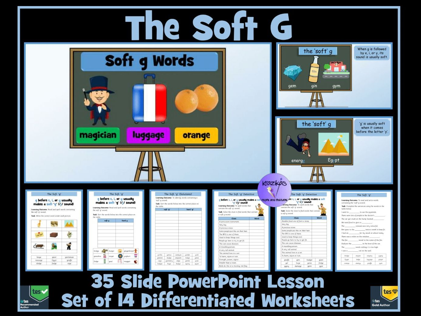 The Soft G: PowerPoint Lesson and Set of 14 Worksheets